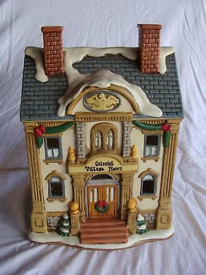 1993 Geo Z Lefton Colonial Village News Lighted Building Original Box Excellent