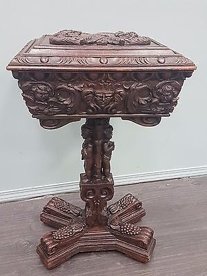 Victorian Carved Oak Teapoy