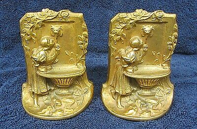 2 Vintage Art Nouveau BOOK ENDS Maiden Girl Water Fountain Gold Gilded Cast Iron