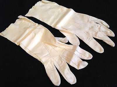 VINTAGE Ladies White Kid Leather Opera Long GLOVES Size 8.5 from England