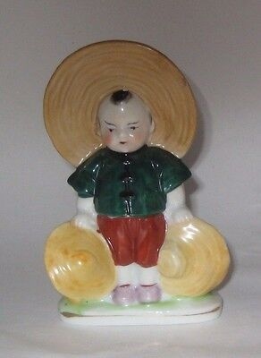 Young BOY in CHINESE Attire w/HATS Vintage JAPAN Pottery VASE