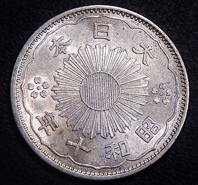 Japan 1935 Showa 10 *Better Date*  UNC Nicely Toned, Original  Silver Coin!