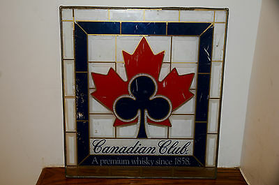 Canadian Club Whiskey Hiram Walker lithographed Glass Display Advertisement Sign