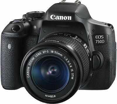 Canon EOS Rebel T6i 750D DSLR Camera w/ EF-S 18-55mm IS STM Lens  + Free Case