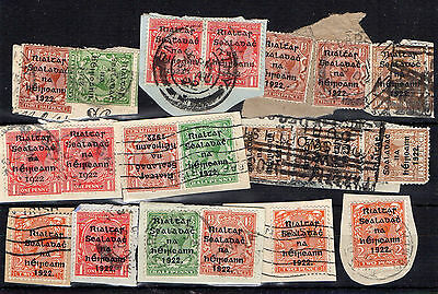 selection of overprinted 1922 stamps used on pieces