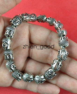 Chinese collection old Tibetan silver amulet Guanyin Bracelet
