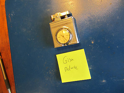 (1) Gisa Deluxe vintage used lighter with watch from estate collection -