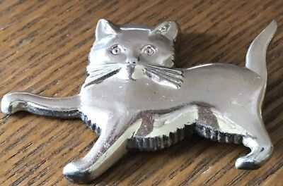 Cute Sterling Silver Designer Signed Lang Polished Cat Kitten Pin Brooch