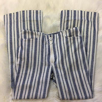 "Vintage 1970s Mann Mens striped Disco Pants 31"" waist zipper Flare Bell Bottom"
