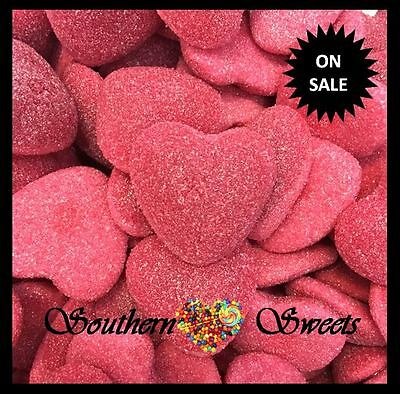 Chunky Shiny Hearts Pink Lollies Strawberry Centre 1.65Kg Gluten Free Lollies