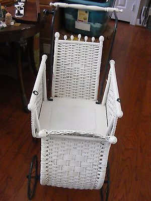 Antique White Wicker Victorian Baby Carriage