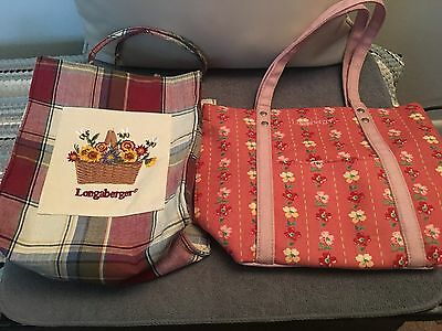 2 Longaberger Homestead Tote Bags Purse Handbag