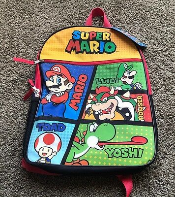 "Nintendo SUPER MARIO 16"" Boys School Large Bag Backpack NEW"