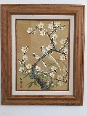 Vintage Hand Painted Japanese Watercolor Painting of Birds Signed