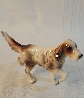 Vintage Ceramic Animal SPRINGER SPANIEL Figurine Hunting Dog marked Japan 623