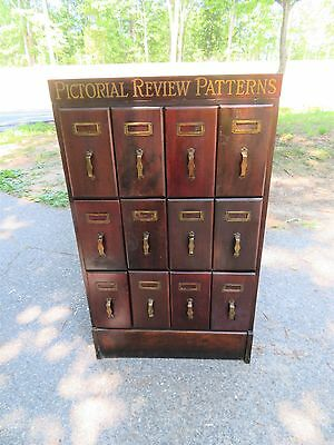 Antique Vintage PICTORIAL SEWING PATTERNS Advertising Wood  Filing File Cabinet