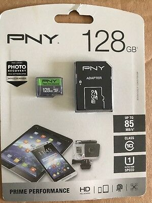 New ONE PNY Prime Performance 128GB Micro SDXC Memory Card w/Adapter 85MB/s