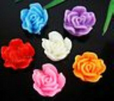 """40Pcs Mixed Resin """"Flower"""" Flatback Beads For Jewelry Making Craft DIY  13x7mm"""