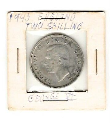 1943 England Great Britain Two 2 Shillings Silver Coin