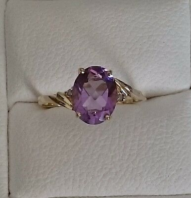 Brand New Genuine 9K Solid Yellow Gold Ring Set With Amethyst & Diamonds