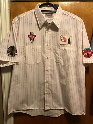 COCA COLA COKE ~ Large ~ Vintage ~ NOS ~ Multi Patch ~ Delivery Uniform Shirt