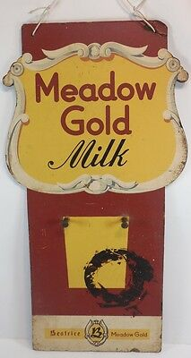 Vintage MEADOW GOLD MILK Large Advertising WOOD SIGN Bottle Dairy BY KAY INC