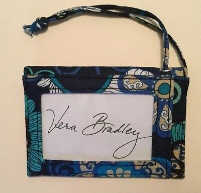 Vera Bradly Luggage Tag W/ Snapped Pocket &  Id Clear Window