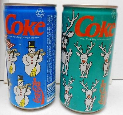 TWO 280ml CANADIAN COCA-COLA CANS - WINTER DESIGNS - VERY COLORFUL-EMPTY