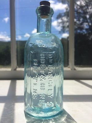 """Rare Small Sized!! Blown, """"dr. Langley's Bitters"""" Bottle Lyndeborough"""