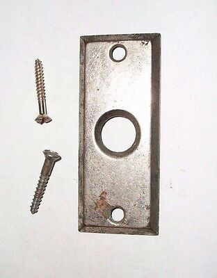 """Antique Solid Brass Door Plate ESCUTCHEON + SCREWS--2 1/4"""" Long with 3/8"""" Hole"""