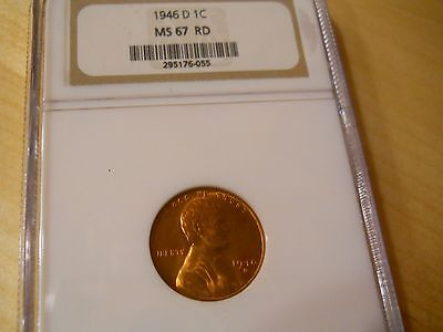 1946 D Lincoln Wheat Cent NGC MS 67 RD