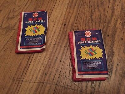 Two Vintage Firecracker Labels Super Charged Red Lantern Old Rare.
