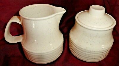 Speckled Creamer and  Sugar bowl with lid Ribbed design