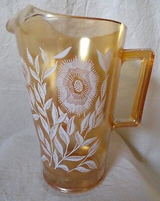 Vintage Irridescent PITCHER flowers ice lip Carnival Glass? 7.5 inches tall