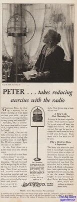 1929 Hendryx Bird Cages New Haven CT Canary Peter Exercises With Radio CUTE Ad