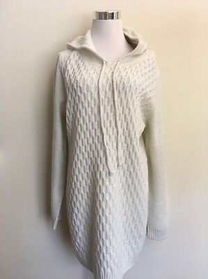 Motherhood Maternity Tunic Sweater Hooded Cream Size Large New With Tags