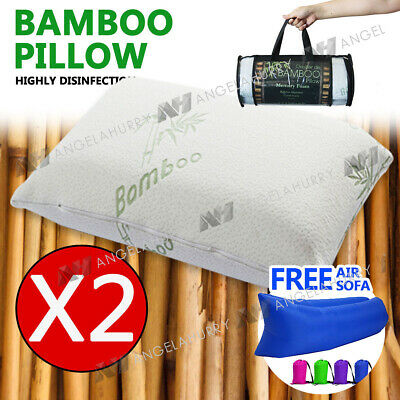2x Bamboo Pillow Memory Foam Cover Vertebra Contour 70 x 40cm + Free Air Sofa