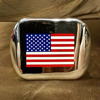 American Flag Trailer Hitch Cover Chrome