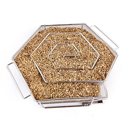 Stainless steel BBQ Cold Smoke Generator Wood chips Grill Smoker Tray Fish Meat