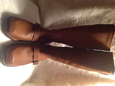 Women Pollini zip up camel leather knee high riding boots rubber soles sz 37 US7