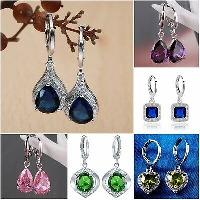 Fashion Women's Jewelry 925 Silver Sapphire Dangle Wedding Hoop Heart Earrings