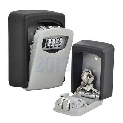 Key Storage Lock Box Wall Mount Holder 4 Digit Combination Outdoor Security YG