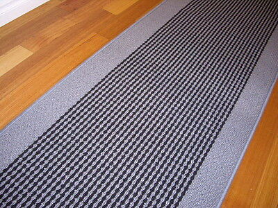Broadway Hallway Runner Hall Runner Rug Modern Black Grey 3 Metres Long 47411 P