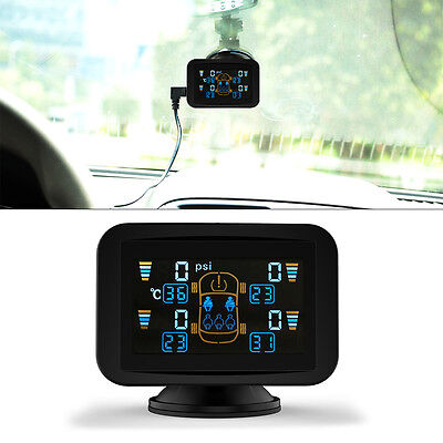 TPMS Car Tyre Tire Pressure Monitoring System LCD with 4 External Sensor BAR/PSI