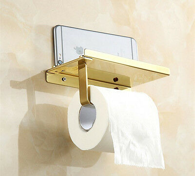 Gold Wall Mounted Bathroom Waterproof Toilet Roll Paper Tissue Box Holder