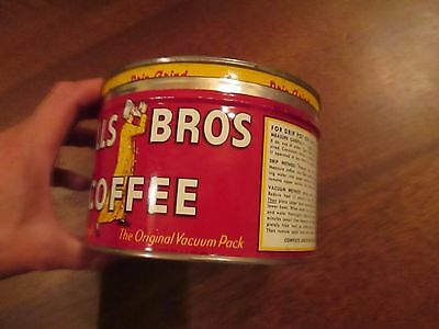 Vintage Hills Brothers Coffee Tin empty bright red 1930's