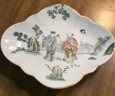 Antique Famille Rose Footed Dish large
