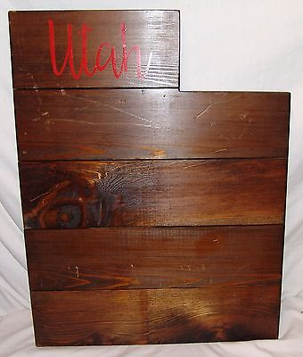 Utah Large Wood Plaque State Barn Board Wall Hanging Decor Reclaimed Rustic