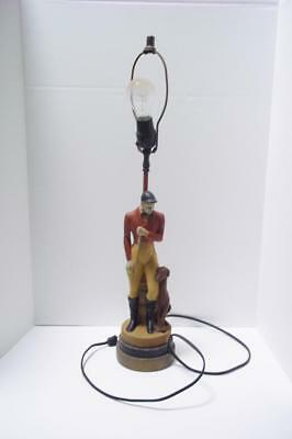 Antique HUNTER and HOUND vintage figure LAMP dog Fox hunt english equestrian