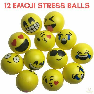 12 EMOJI FACE STRESS BALLS Hand Relief Squeeze Tension Reliever Soft Smiley 70mm